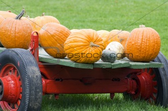 Old red pumpkin wagon