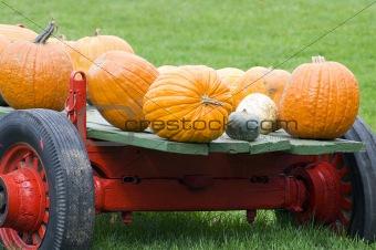 Old red pumpkin wagon