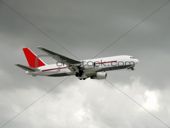 Cargo airplane in flight