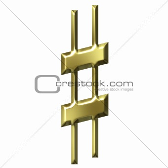 3D Golden Sharp Symbol
