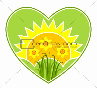daffodils and sun in heart