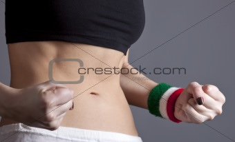 Beautiful and strong women's abs with metre.