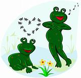 Funny and carefree frogs.