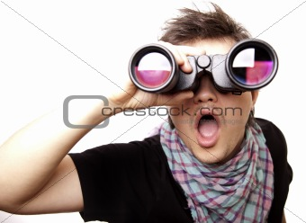 Boy with binocular
