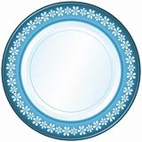 White and blue plate