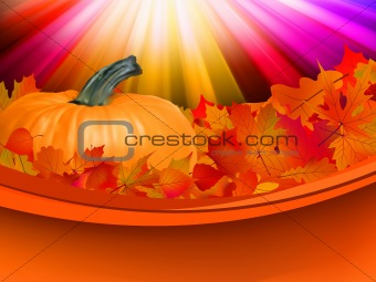 Abstract Classical autumn card with pumpkin. EPS 8