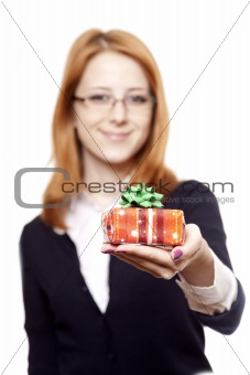 Business women with gift.