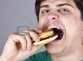 Cute boy eating hamburger.