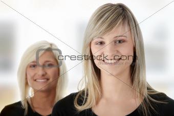 Portrait of two casual caucasian women