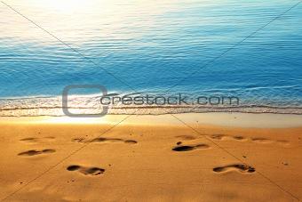 footprints on sand along sea at dawn