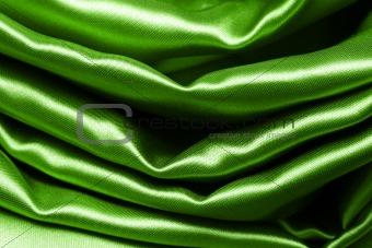green crumpled silk fabric