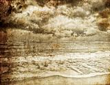 Sea storm. Photo in old retro style.