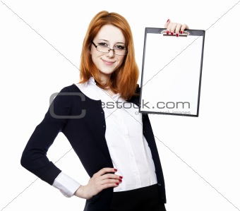 Portrait of the business woman with a  folder.