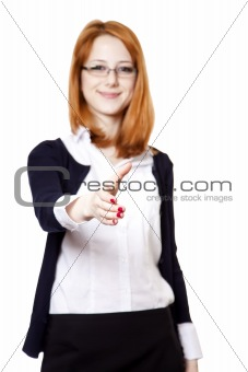 Business woman smiling and hold hand for handshake.