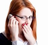 Sad business women calling by phone.