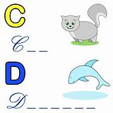 alphabet word game ,cat and dolphin