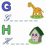 alphabet word game ,giraffe and house