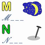 alphabet word game , moon and nail