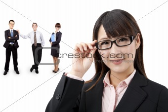 Smart businesswoman and business team