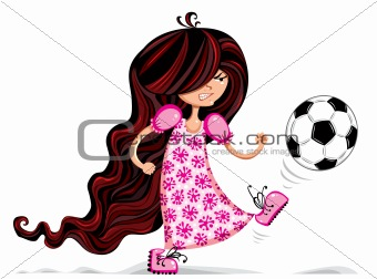 Little girl playing soccer.