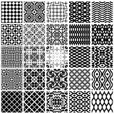 Monochrome geometric seamless patterns set.