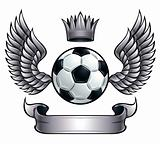 Winged soccer ball emblem.