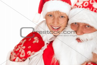 Santa with child on a white