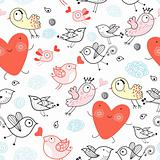 Texture funny bird with hearts