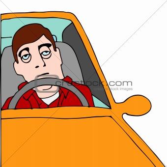 Tired Man Sitting in Traffic