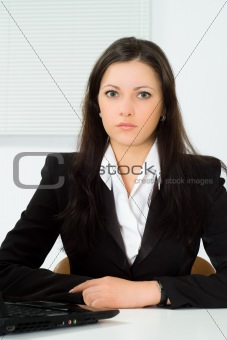beautiful girl working in the office