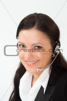 nice girl in a black business suit with a white
