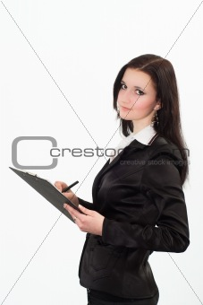 beautiful woman in a black business suit