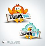 "Funny Cartoon Birds 3D icon to say ""Thank you"""