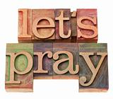let us pray in letterpress type