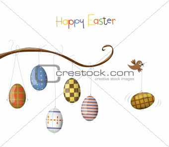 Little bird and egg. Easter illustration.