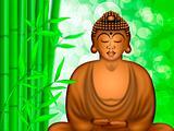 Zen Buddha Meditating by Bamboo Forest Background