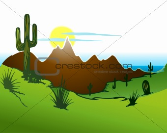 Cactus saguaro, Mountains and river. Vector
