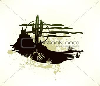Cactus saguaro grunge background. Vector