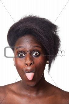 Beautiful Black Woman Portrait on White
