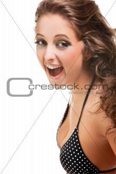 beautiful brunette girl wearing bikini