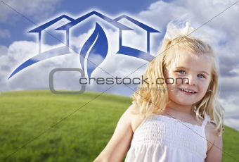 Adorable Blue Eyed Girl Playing Outside with Ghosted Green House Graphic in The Blue Sky.