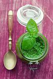 Pesto in glass jar