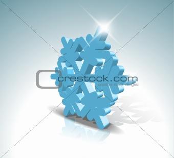 Blue 3D snowflake
