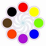 round color palette with eight basic colors