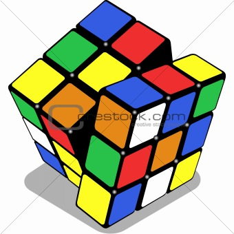 puzzle cube isolated on white