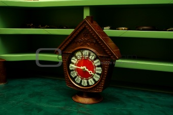 Old wooden alarm clock