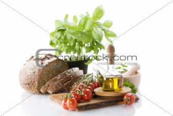 Bread, herbs, olive oil and vegetables