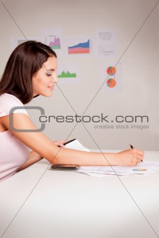 Business Woman with Graphs