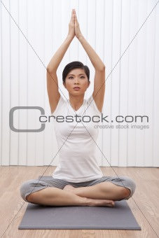 Beautiful Young Asian Chinese Woman In Yoga Position
