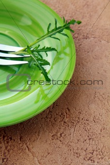 green plate with a fork and a sprig of arugula